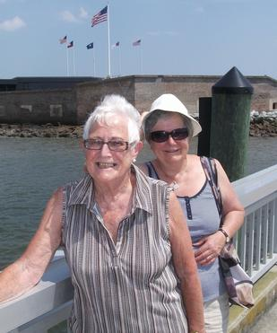 Picture of Joyce and her sister Janet at Fort Sumpter 2010